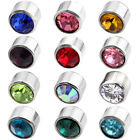 2x 6mm Stainless Steel Crystal Birthstone Ear Stud Earring Piercing Jewerly Gift