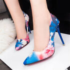 2015 HOT New Womens Floral Colourful Patent Mid High Heels Nightclub Shoes Size