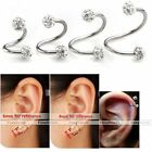 16G 6-12mm Stainless Steel Flexo Twist Ear Helix CZ Crystal Cartilage Earring