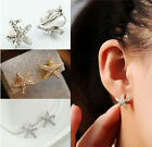 Fashion Womens Crystal Starfish Ear Clip Cuff Earring Stud Charms Jewelry gifts