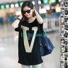 Casual Women Letters Batwing Modal Cotton Short Sleeve Loose T-shirt Blouse Top