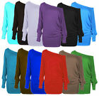 WOMENS ONE OFF SHOULDER BATWING LONG SLEEVE  BAGGY TOP- LOT SIZES 8,22