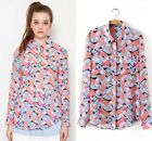 2015 Spring NEW Women's double pockets Geometric print Top Blouse Shirts