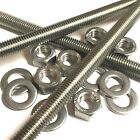 M12 A2 Stainless Threaded Bar Rod Studding With/Without Nuts & Washers - 3 Pack