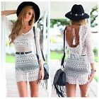 2015 backless Loose Embroidery Cover Up Sarong tassel Floral Lace Crochet Dress