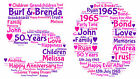 PERSONALISED 1st 30th 40th 50th WORD ART PRINT WEDDING ANNIVERSARY KEEPSAKE GIFT