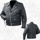 Mens Black Cowhide Leather Classic Biker Style Motorcycle Biker Jacket Coat