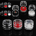 10x Clear Acrylic Crystal Ring Gift Box Earring Storage Case Organizer Jewelry