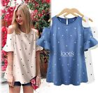 Fashion Ladys oversize cotton off shoulder blouse tops shirt 2 colors plus size
