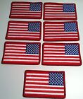 7 UNITED STATES Flag Military Patch With VELCRO® Brand Fastener Red Border #82