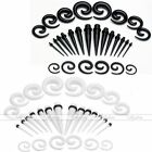 28X Acrylic Taper Stretcher + Spiral Expander Ear Plugs Stretching Piercing Kit
