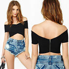 HOT Sexy WomenOff Shoulder Bodycon Stretch Backless Cropped Clubwear Bandage Top