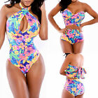 NEW Sexy Women Floral One-piece Bikini Set High Waist Colorful Swimsuit Swimwear