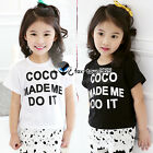2016 Summer Baby Girls Child Kids Princess Letter Coco Mixed Lace T-Shirt 3-8Y