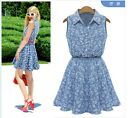 Chic Women Sleeveless Slim Floral Tunic Casual Denim Jeans Party Mini Dress LJ