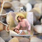 """GUARDIAN ANGEL"" MOTHER ANGEL CHILD LOVE GLASS TILE PENDANT NECKLACE KEYRING"