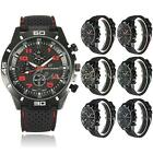 Luxury Quartz Analog Wrist Watch Sport Mens Stainless Steel Silicone Band Gifts