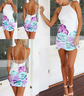 2015 Sexy Women Celeb Floral Print Halter Evening Cocktail Party Zipper Dress