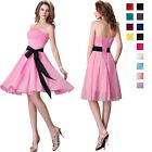 UK Clearance Mini Bow Sexy Princess Cocktail Party Chiffon Bridesmaid Prom Dress