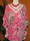 STYLE & CO. PRE OWNED L LARGE  shirt pink summer kimono tunic flower cotton