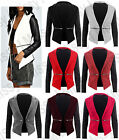 New Womens Ladies Quilted Open Shift Frill Zip Smart Blazer Jacket Coat 8-14