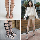 Gladiator Womens Flat Genuine Leather Buckle Strap Roman Knee High Sandals Boots