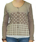 LUNN by Lilith Domaine Cannelle Polka Dot & Striped Cardigan Top E114LB122 NWT