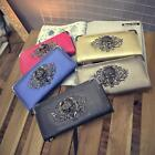 Vintage Style Skull Head Rivet Retro Punk Women Handbag Long Purse Clutch Bags H