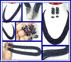 557 CT 5 LINES NATURAL SAPPHIRE BEADED DESIGNER NECKLACE W MATCHING EAR-RINGS