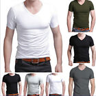 2015 New Stylish Men's Slim Fit V-neck/Crew neck T-shirt Short Sleeve Muscle Tee