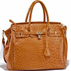 New Emperia® Large, Ostrich Embossed Padlock Satchel w/ Strap- Brown