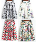 New Floral Print High Waist Ball Gown A-Line Pleated Midi Swing Skirt 15 Colors