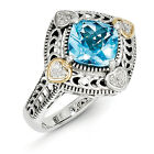Blue Topaz & Diamond Ring Silver 14K Gold Accent 0.05 Ct Size 6 - 8 Shey Couture