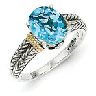 Blue Topaz Antiqued Ring .925 Silver w/ 14K Gold Accent Size 6 - 8 Shey Couture
