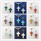 6pcs Mixed Stone Cross Dangle Charms fit European Style Bracelet or Necklace S40