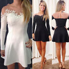 Fashion Women Summer Long Sleeve Clubwear Cocktail Casual Party Mini Black Dress