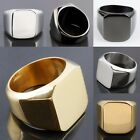 Men's Women's Stainless Steel Flat Face Finger Ring Rings Silver/Golden/Black
