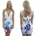 Summer Women's Floral Printed V-neck Sleeveless Stitching Backless Dresses LJ