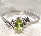Genuine Faceted Oval Green Peridot .925 Sterling Silver Ring -- PD855