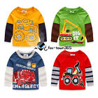 2016 Spring Baby Child Kids Boys Girls Truck Vehicle Long Sleeve T-Shirt 2-7Y