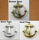 25Pc Tibet Silver,Gold,Bronze Tone Two-Sided Anchor Jewelery Charm Pendants 23mm