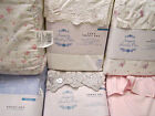 Simply Shabby Chic Sheet Set:White Pink Embroidered Indigo Blue Floral Mon Amie