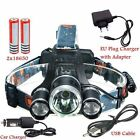 Rechargeable 6000LM 3x CREE XM-L2 T6 LED Headlamp Headlight Torch USB Chargers