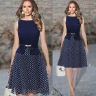 Fashion Women Summer Slim Chiffon Sleeveless Polka Dot Dress Office OL Party Hot