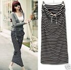Outstanding Women Maxi Skirt Casual Loose Drawstring Pocket Striped Skirt LACA