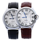 Mens Stainless Steel Case Faux Leather Strap Quartz Analog Wrist Watch VFORU