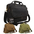 """High Quality Canvas Business Briefcase 15"""" Laptop Work Documents Carry Case Bag"""
