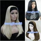 Ladies Cute Long Straight black blonde 3/4 wig with headband straight half wigs