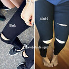 jn40 Celebrity Fashion Trendy Mid Rise Black Ripped Knee Skinny Jeans