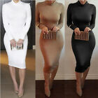 Women Elegant Long Sleeve High-necked Evening Cocktail Ball Party Slim Dress